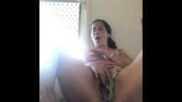 Risky masturbation at the front door! Roommates are due back any moment!